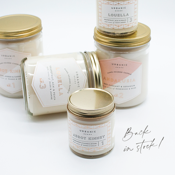 Urbanic signature candles are back in stock!