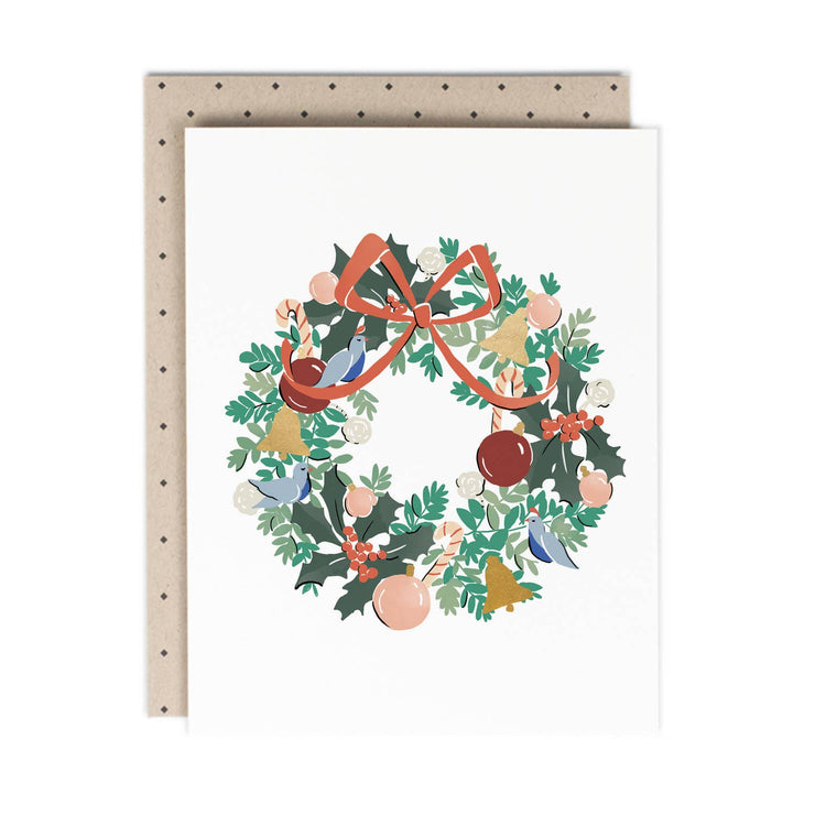 wreath holiday cards - set of 8