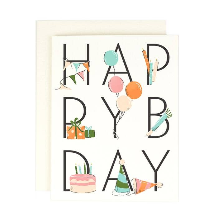 happy bday decorated letters card