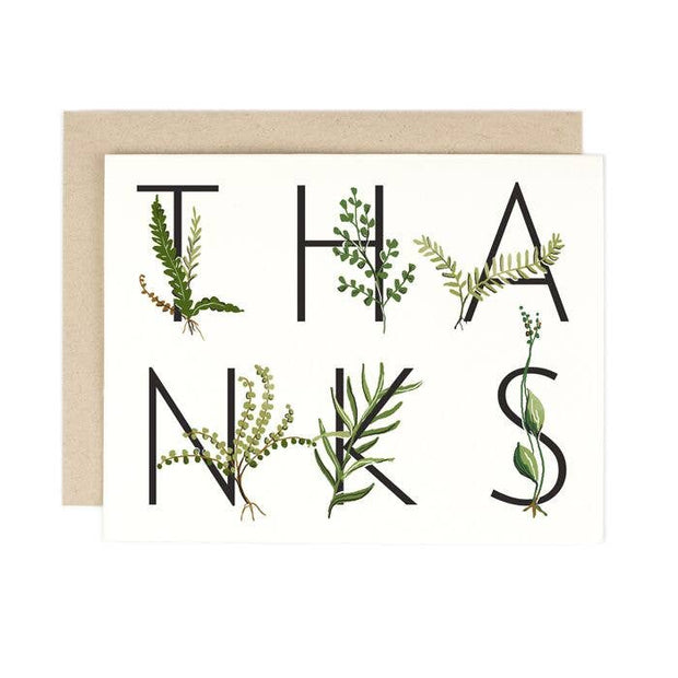 fern thanks card - single or set of 8