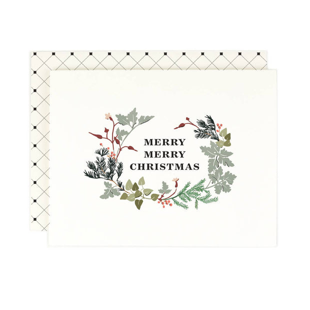 merry merry christmas card - single or set of 8