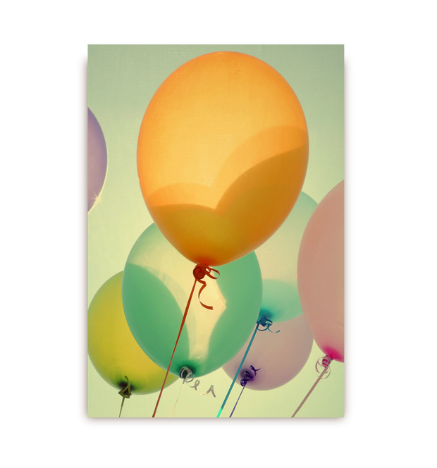 optimism balloons postcard