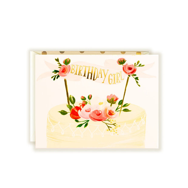 birthday girl cake gold foil card