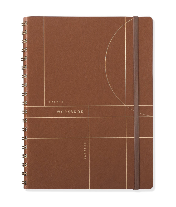 circle grid cognac faux leather large workbook