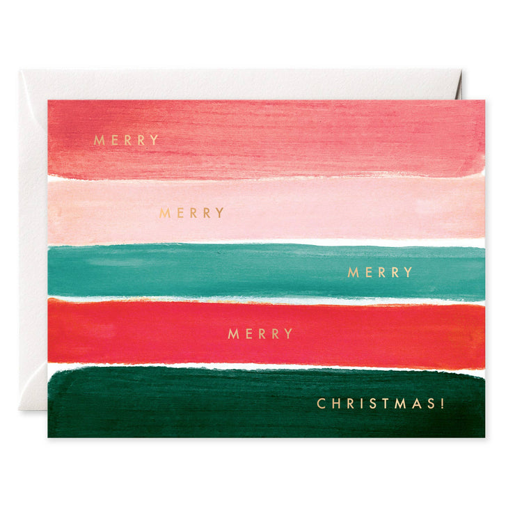 merry christmas stripes card - single or set of 6