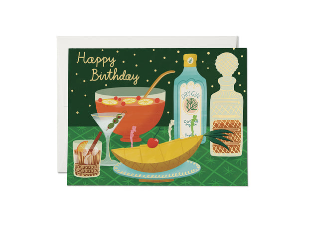 boozy gold foil birthday card