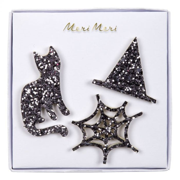 halloween glitter fabric pins - pack