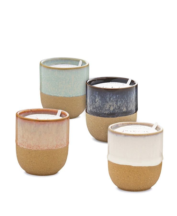 reactive dripped glaze 3.5 oz ceramic candles