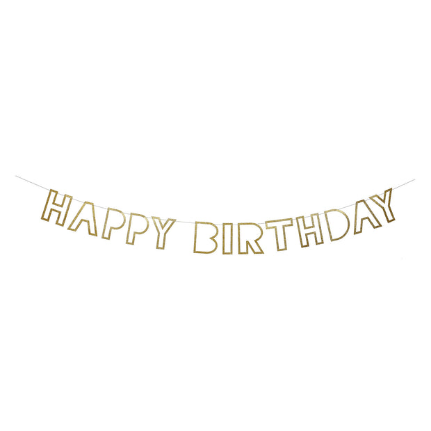 gold cut-out happy birthday garland