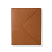 cognac faux leather envelope padfolio