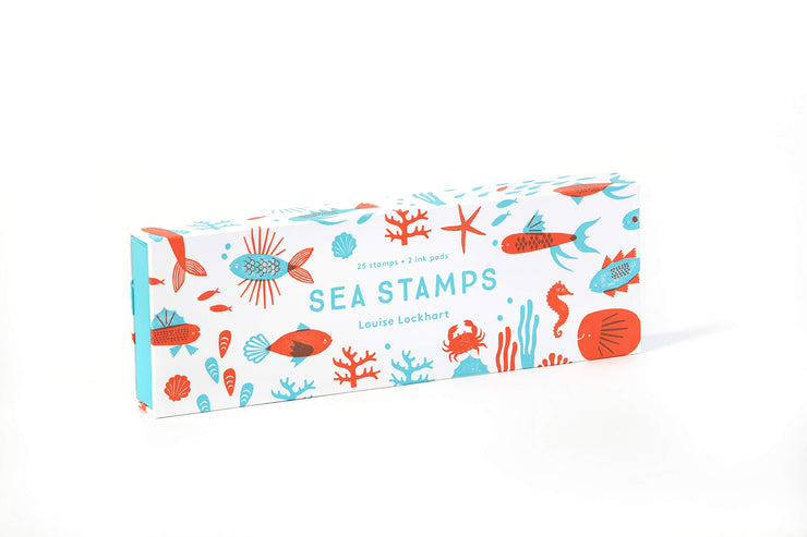 sea stamps - set of 25 rubber stamps & 2 ink pad colors