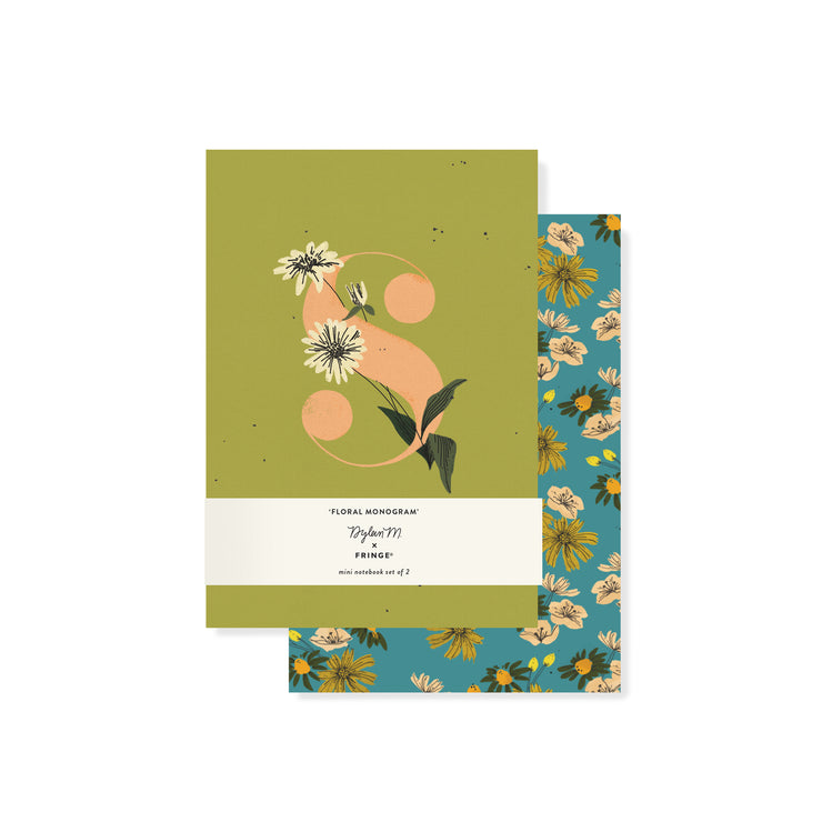 monogram floral mini notebook set