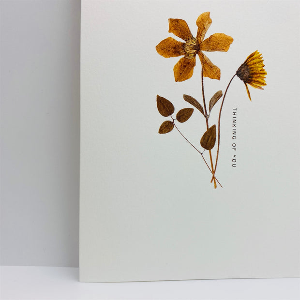 thinking of you pressed flowers card