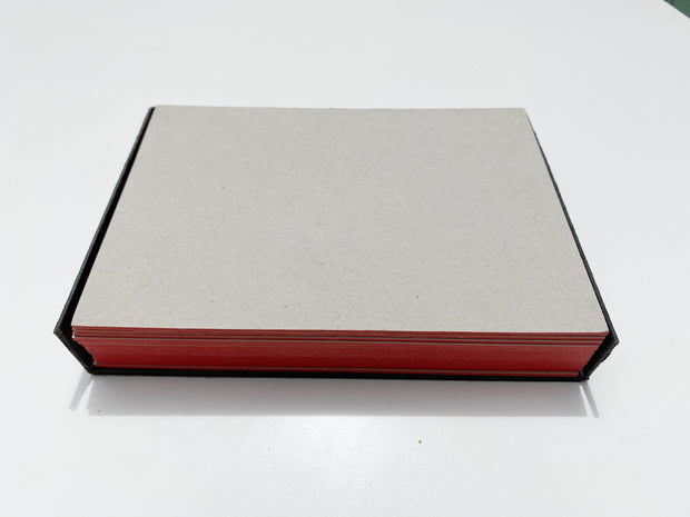 thick note cards: grey with red edging, set of 16
