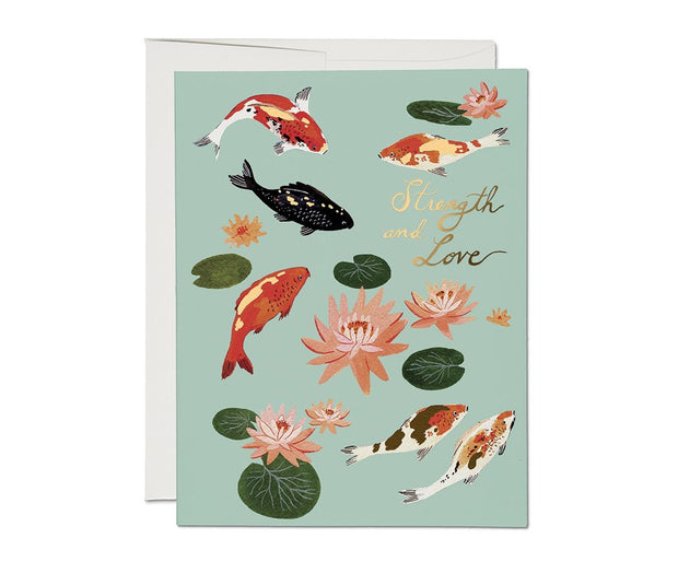 koi fish foil encouragement card