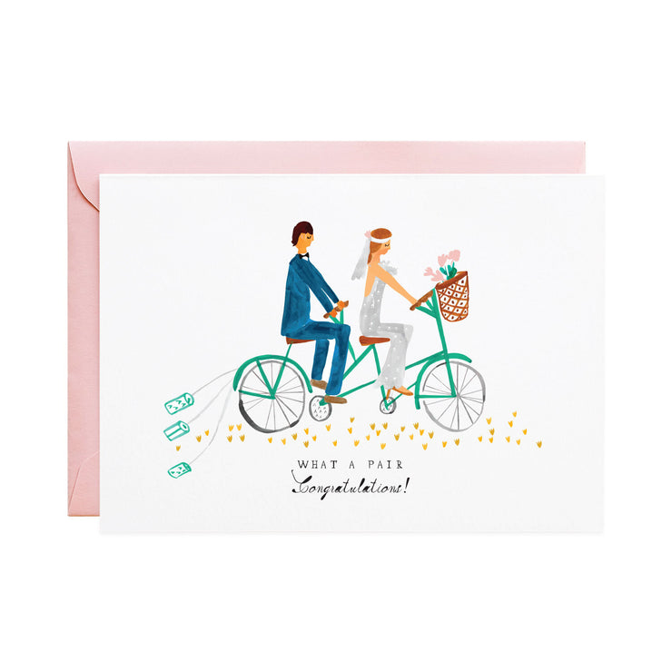 tin cans on the tandem wedding card