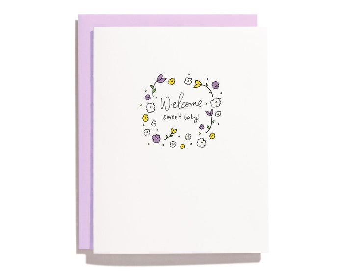 welcome sweet baby floral card