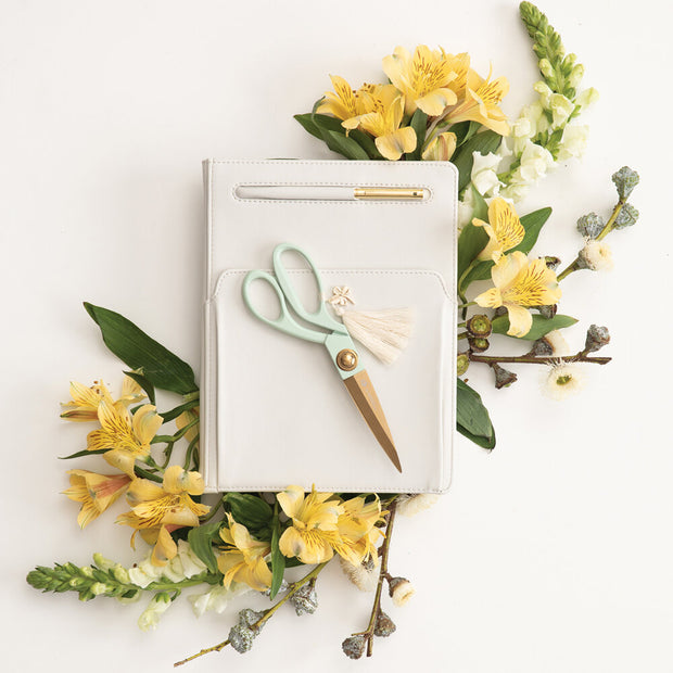 gold scissors with tassel & charm - mint