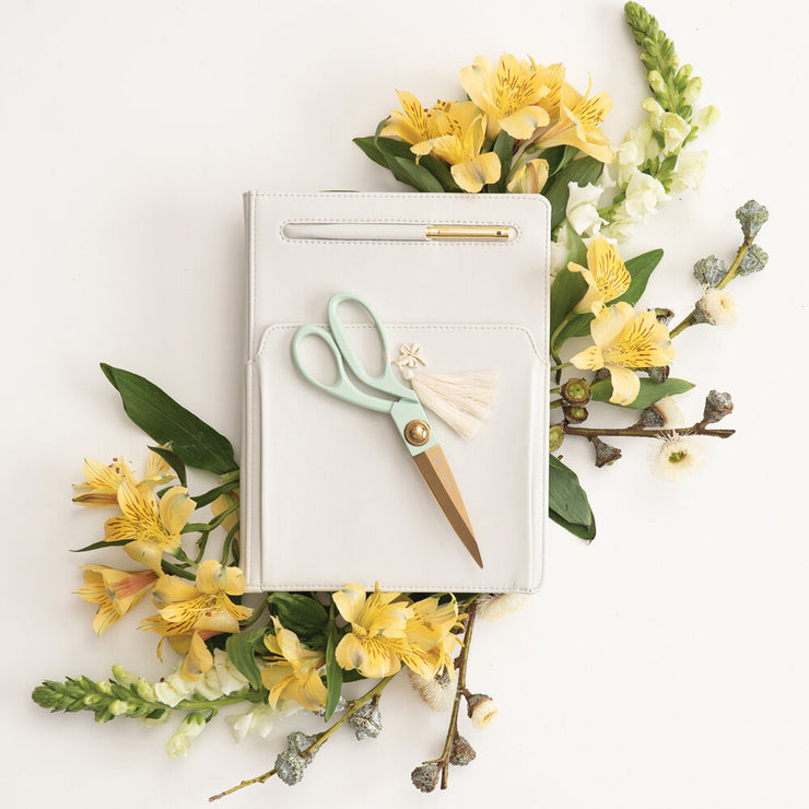 gold scissors with tassel & charm - various colors