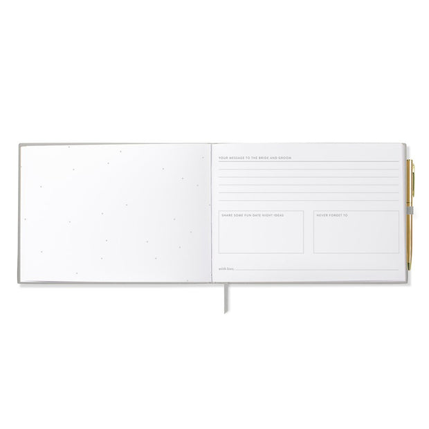 grey faux leather guestbook with gold pen