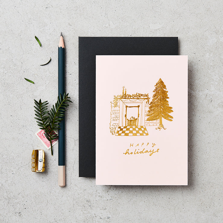 fireplace holidays cards - set of 8