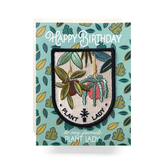 plant lady birthday patch card