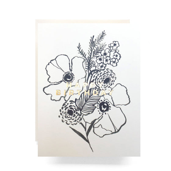 poppy bouquet gold foil birthday card