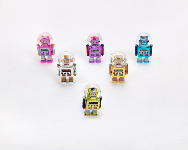 robot water globe ornaments - assorted colors