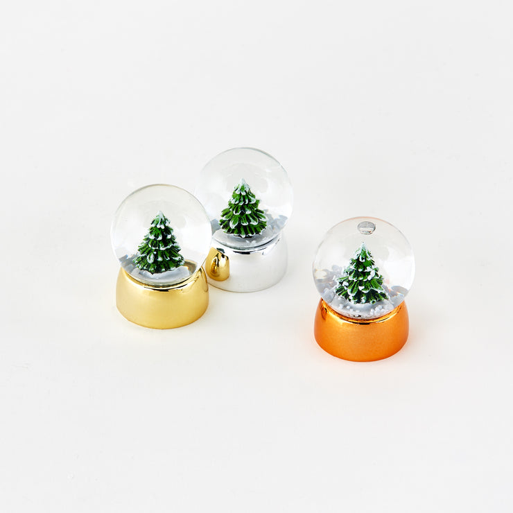 mini tree water globes - gold, silver & copper