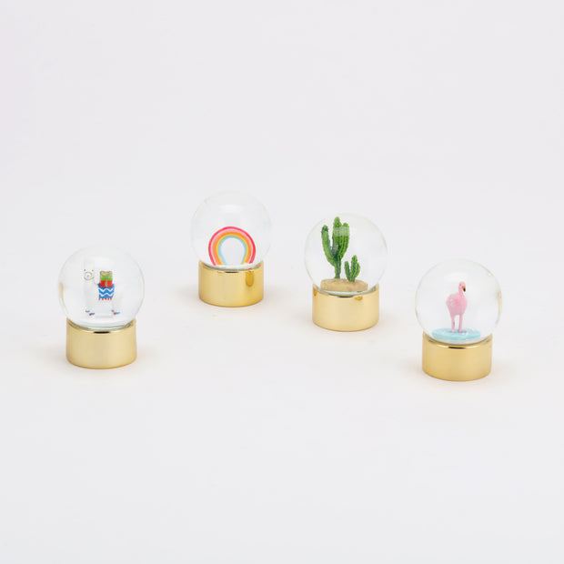 mini water globes - flamingo, alpaca, cactus & rainbow