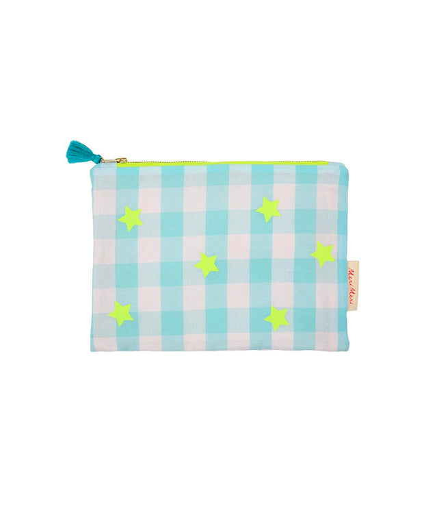 blue and neon gingham pouch