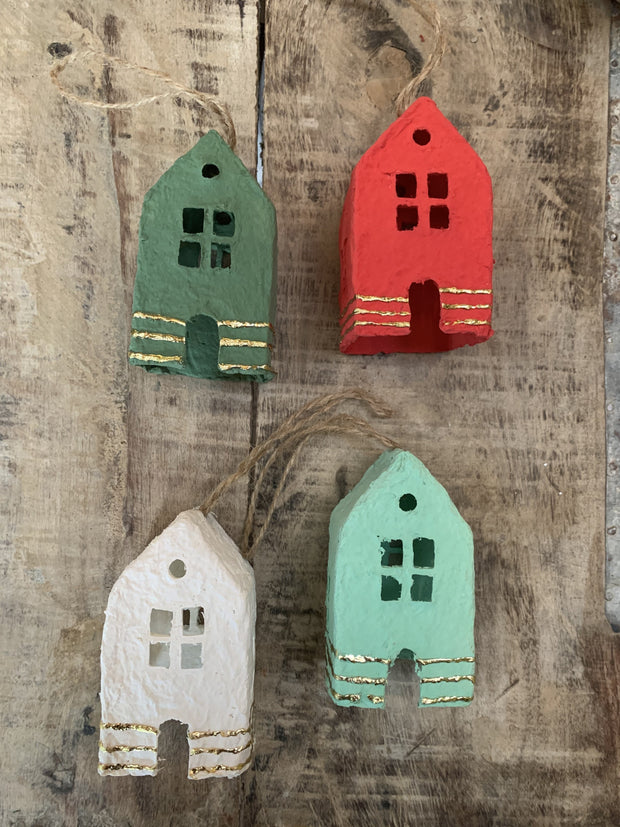paper mache house ornaments - various colors