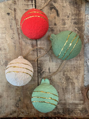 paper mache round ornaments - various colors