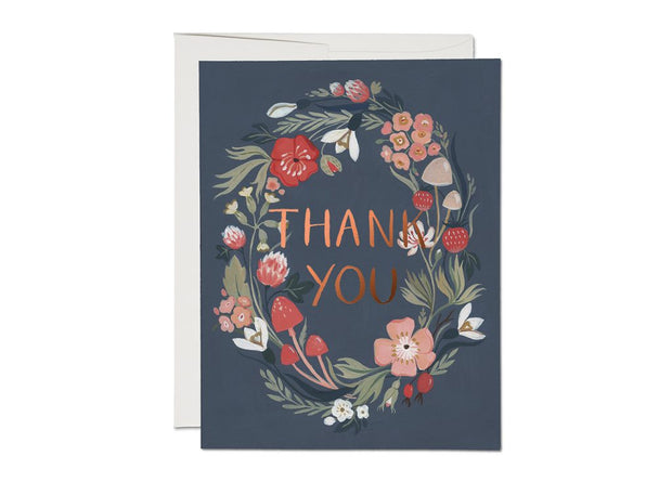 forest blue foil thank you card