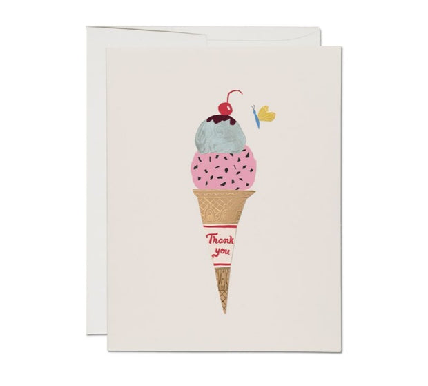 ice cream foil thank you - single card or set of 8