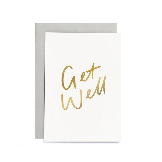 get well gold foil card