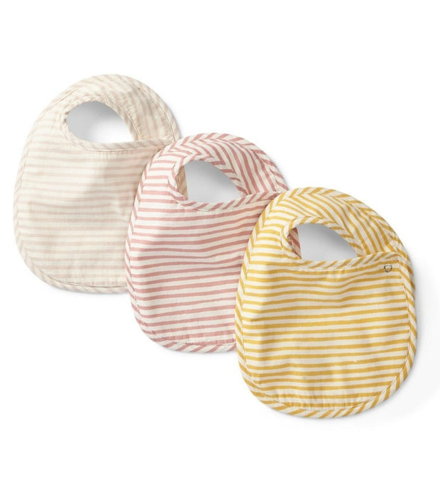 stripes away 3pc bib set - petal