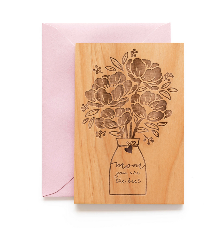 mother's day bouquet wooden card