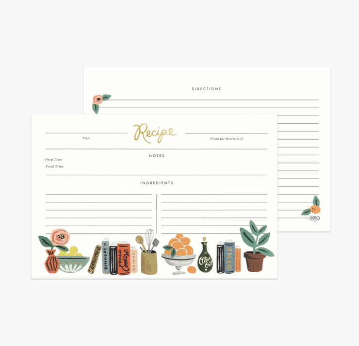 kitchen shelf recipe cards - set of 12