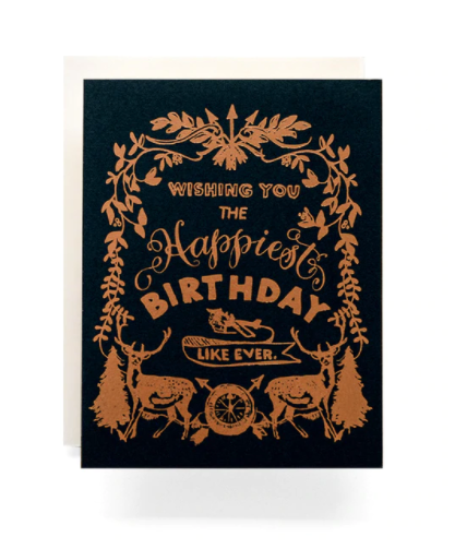 happy birthday deer crest card