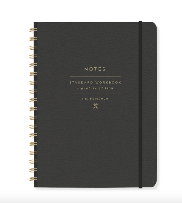 black faux leather notebook