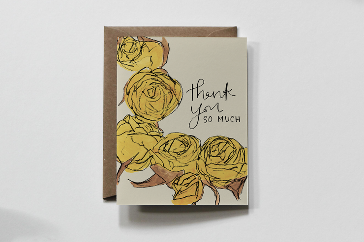 scrawl floral thank you card