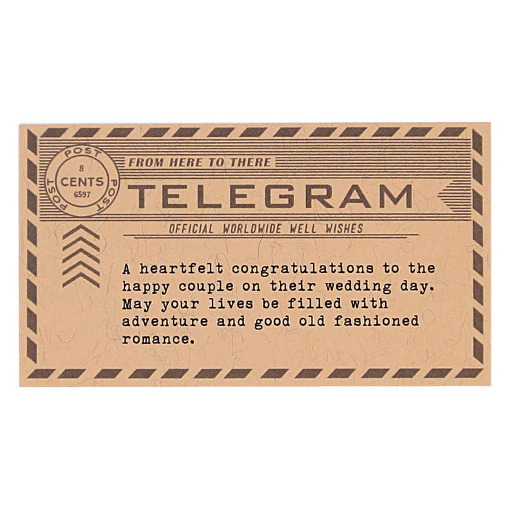 wedding telegram note card