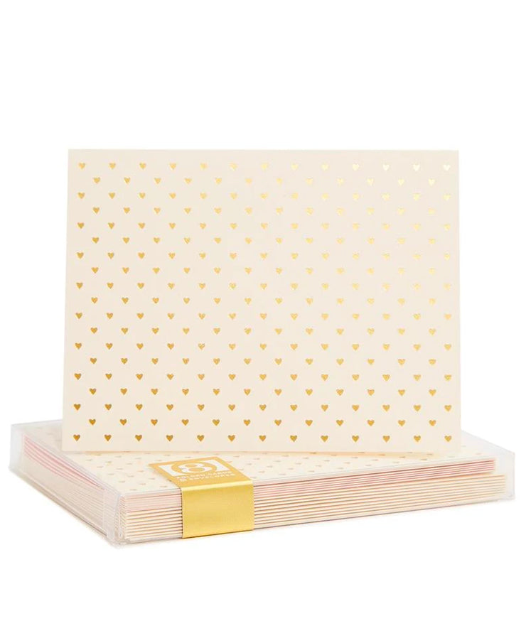 tiny gold foil hearts card - enclosure size, A2 card, & set of 8