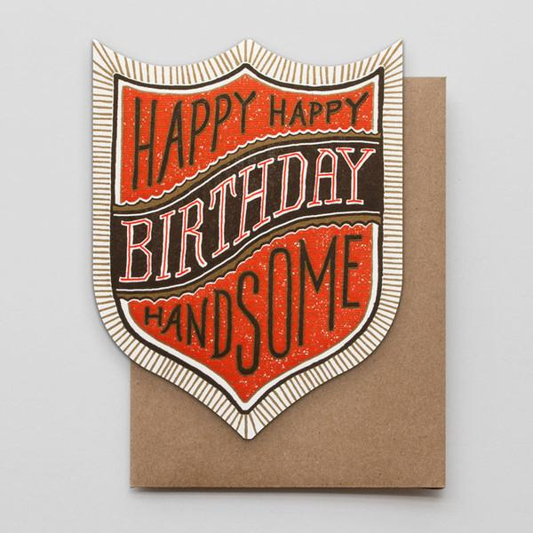 birthday handsome die-cut badge card