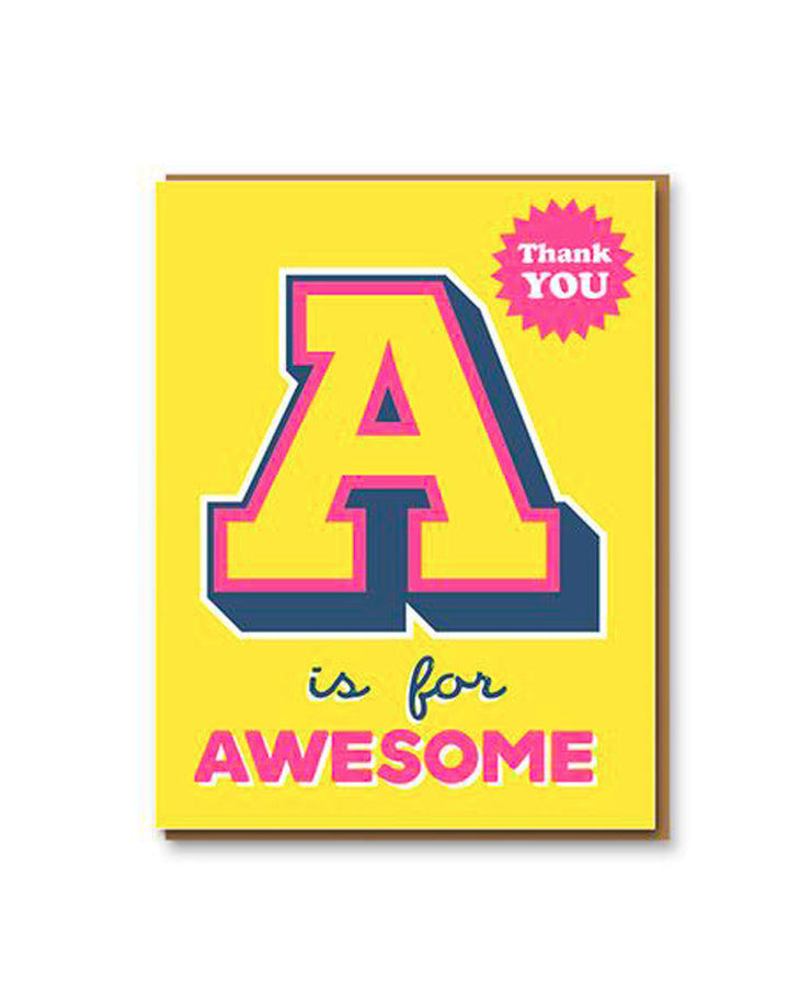 a is for awesome thank you card