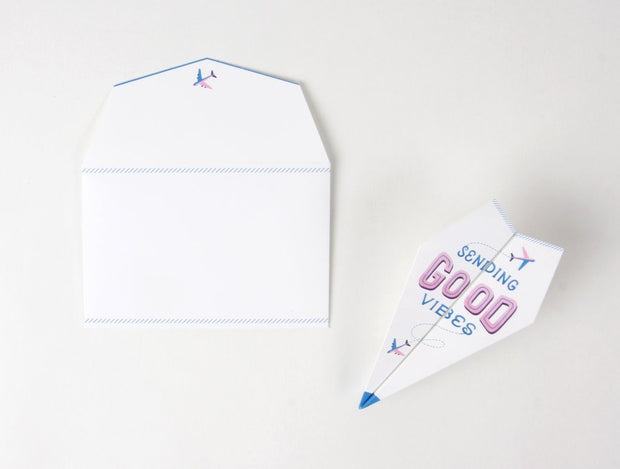 paper airplane pop-up encouragement card
