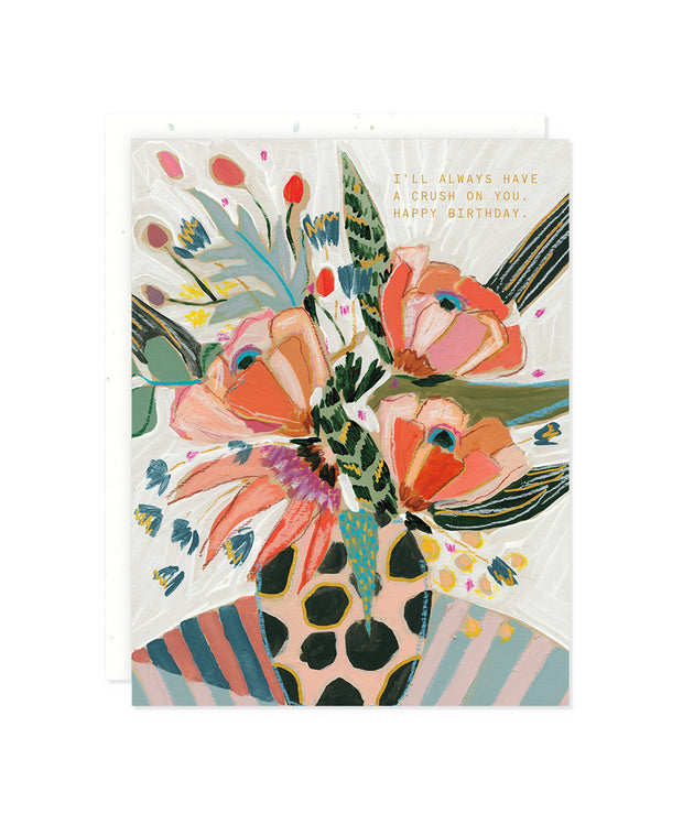 pink polka floral crush birthday card