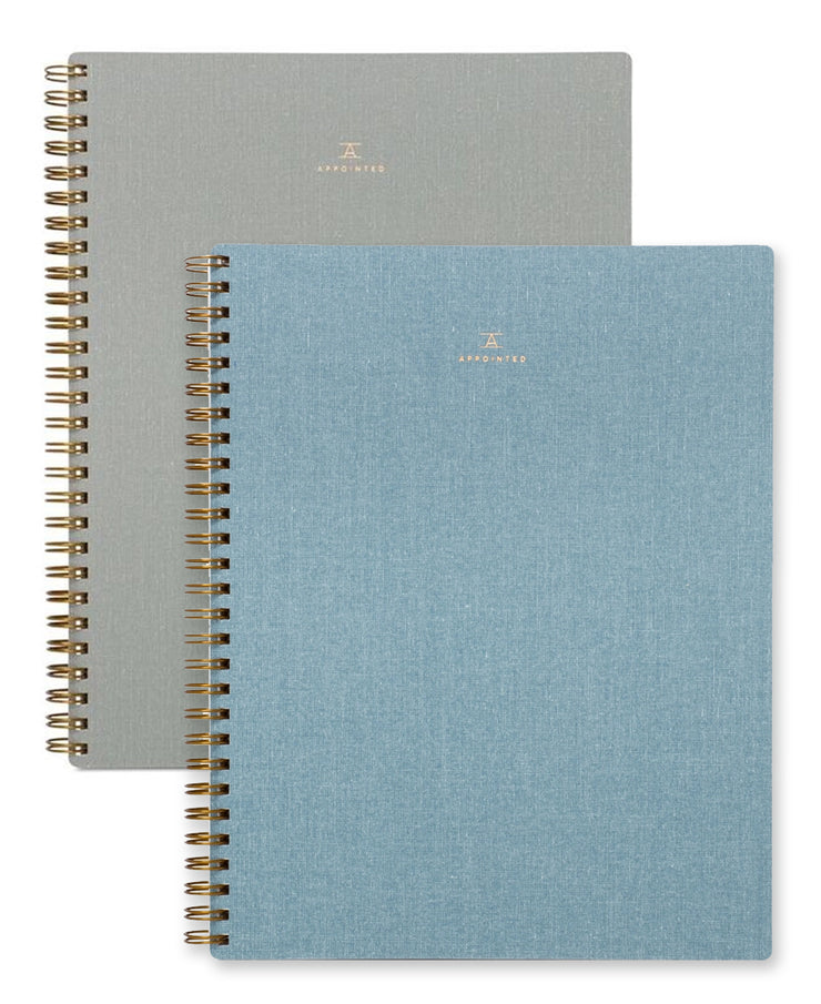blank & lined notebooks - chambray blue & dove gray
