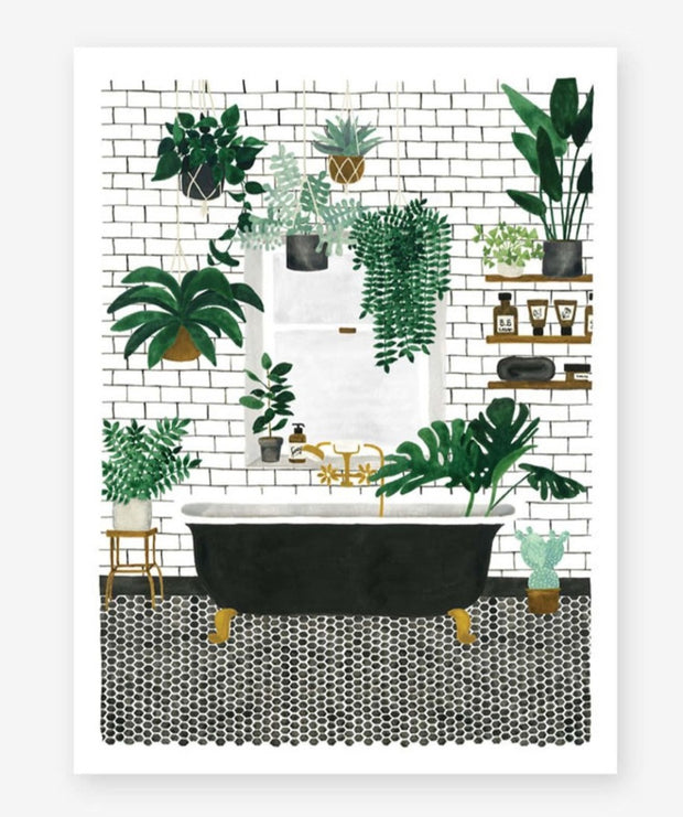 bathroom illustration small print